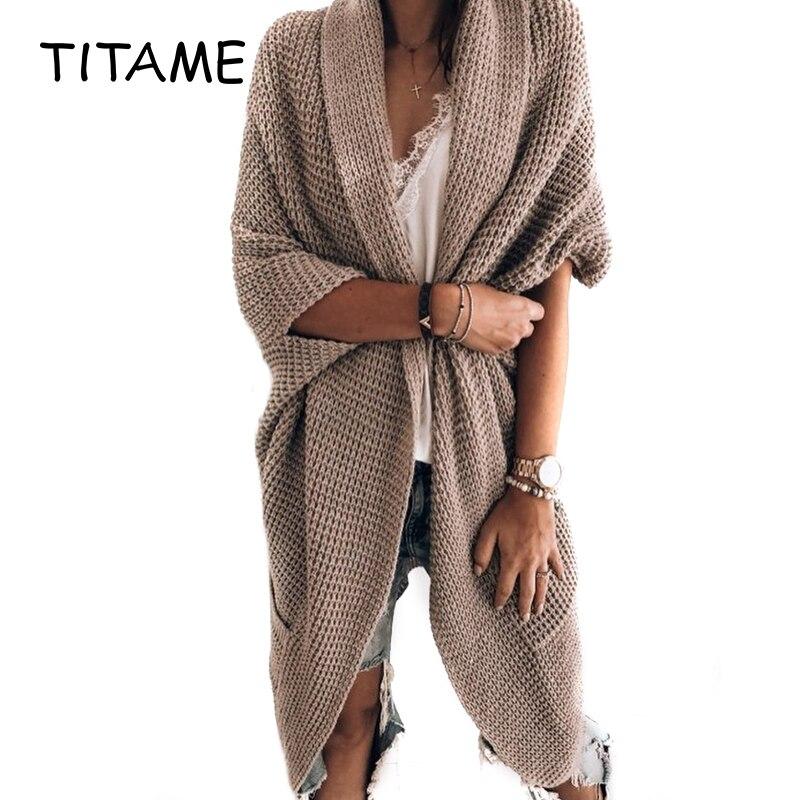 Outwear quente bat manga grande tamanho longo malha cardigan camisola bolso feminino ponto aberto casual camisola de malha para o outono inverno