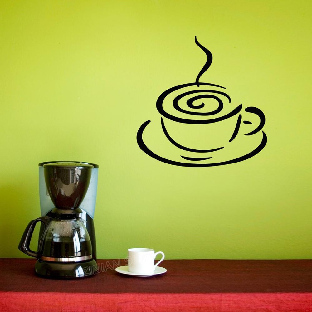 Taza de café de pared calcomanía decoración de cocina comedor café ventana decoración de la pared pegatinas removibles decoración del hogar empapelado A324