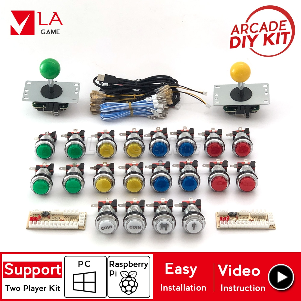 2 player arcade diy placa zero delay arcade to PC Rasberry Pi 4 chrome plated arcade buttons arcade diy kit arcade joystick