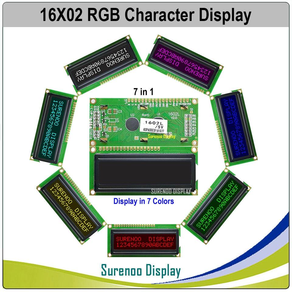162 16X2 1602 5В/3,3 В персонаж ЖК-модуль дисплей экран LCM FSTN отрицательный с 7 видов цветов RGB подсветка (RGB на черном)