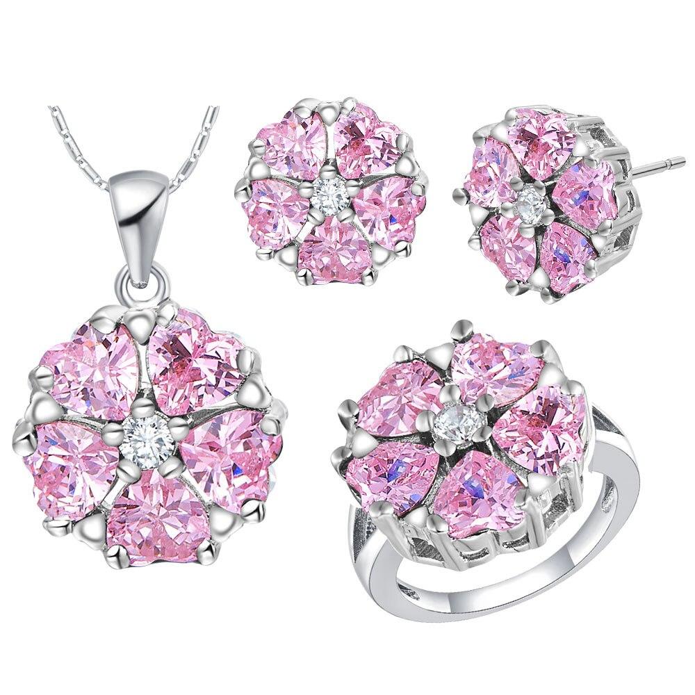 FDLK moda Rosa cristal Cz colgante collar pendientes anillo con forma de corazón conjunto de joyería para las mujeres regalos de fiesta de boda