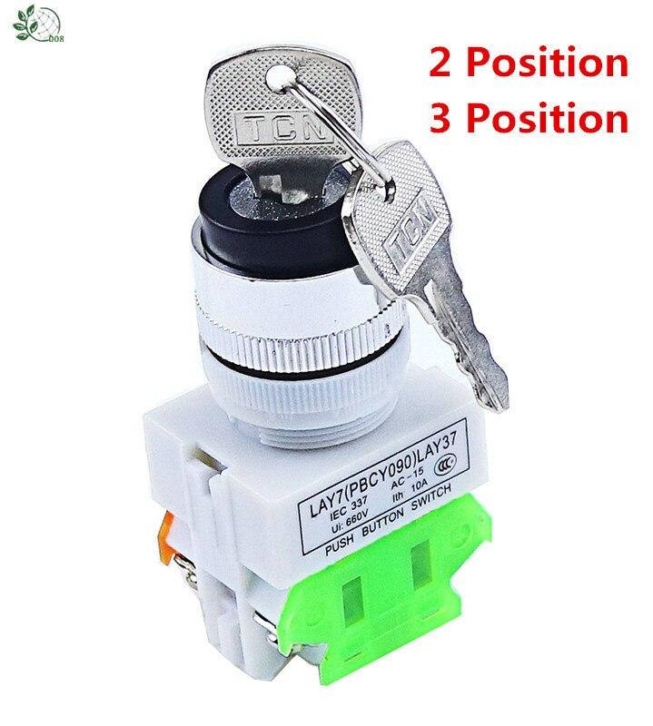 LAY37 AC 380V 10A DPST 2 posiciones 3 posición interruptor de bloqueo giratorio 1 N/O 1 N/C
