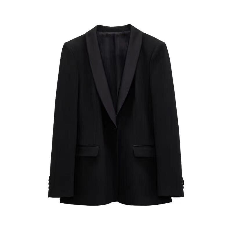 Za المرأة بلازير مكتب السيدات سترة رسمية واحدة الصدر جيوب فساتين طويلة الاكمام الأسود أبلى معطف امرأة أنيقة