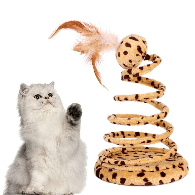 Juguete interactivo forma de bola de gato juguete de serpiente de primavera con pluma de Mascota para burlar gatos franela almohadilla de rascar productos de juguete