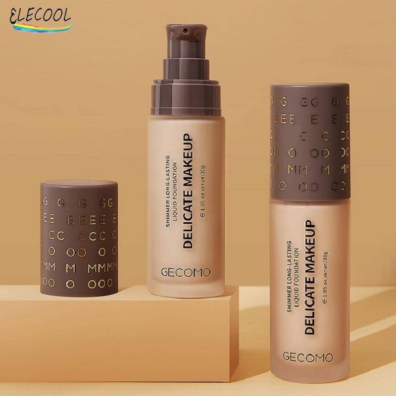 ELECOOL 30ml Liquid Foundation Soft Moisturizing Concealer Primer Base Shimmer Face Makeup Oil Contr