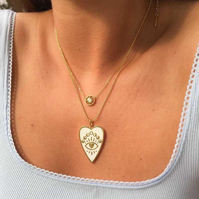 2020 Stylish Bead Chain Evil Eye Heart Print Enamel Black White Heart Pendant Necklaces For Women Christmas Gift Jewelry