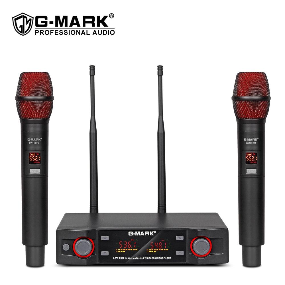 G-MARK EW100 ميكروفون لاسلكي المهنية المحمولة اللاسلكي كاريوكي هيئة التصنيع العسكري تردد قابل للتعديل 80 متر المسافة للحزب المرحلة