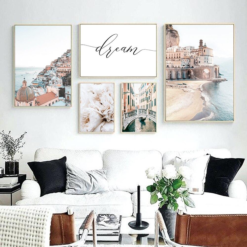 Pintura en lienzo para pared, Arte de Italia, flor Amalfi, Impresión de...