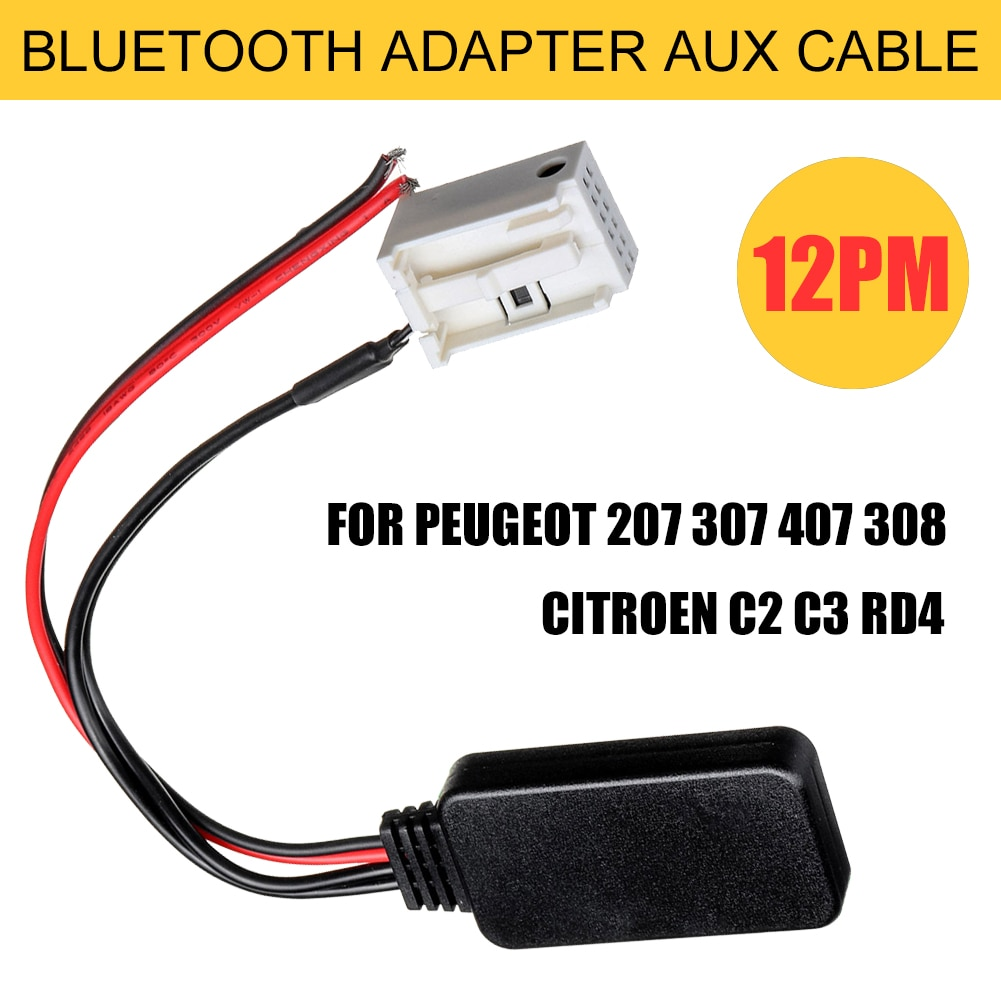 New Cable Adapter Fit for Peugeot 207 307 407 308 Fit for Citroen C2 C3 RD4 Car 12Pin Bluetooth Wireless Radio Stereo AUX-IN Aux