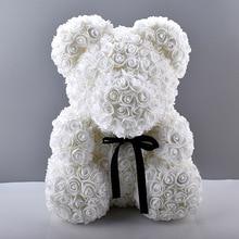 Ours en Rose multicolore en mousse 1 pièce 25cm   Ours en peluche pour petite amie et saint-valentin, décoration de fête danniversaire, cadeau de fête des mères
