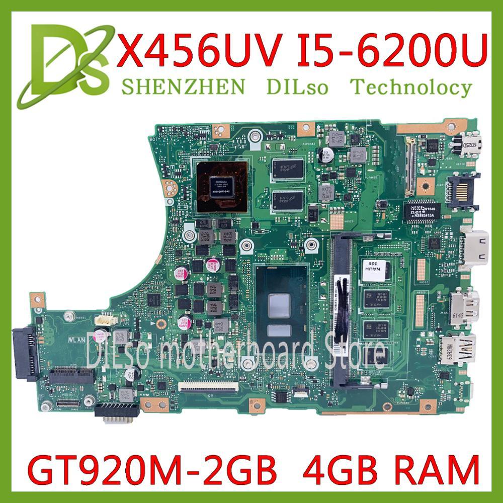 KEFU X456UV motherboard For ASUS X456UF X456UJ X456UQ X456UB A456U Laptop motherboard DDR4 4GB i5-6500U CPU GT920M original Test