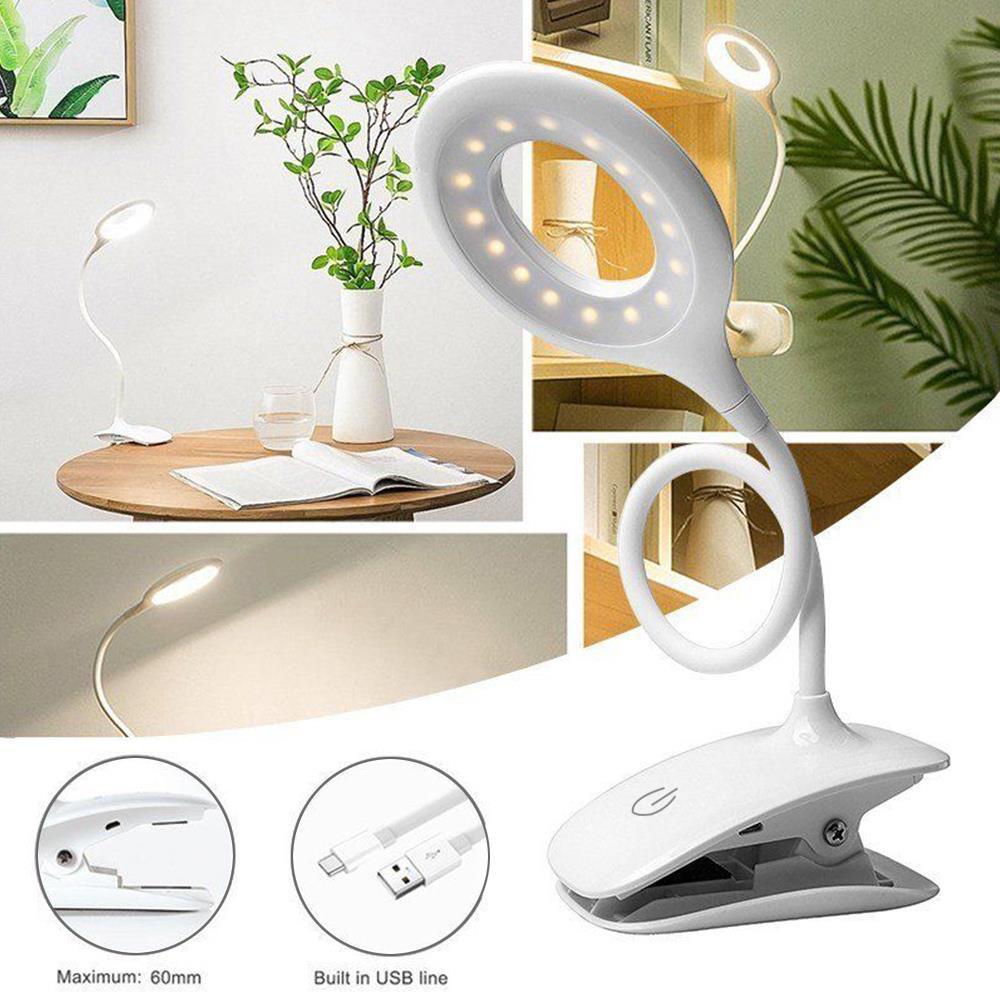 Lámpara de escritorio con Clip LED para sujetalibros con luz sensible con Clip para estudio, cuidado de los ojos, lámpara de lectura de Piano, lámpara de libro, linterna de antorcha 20LED