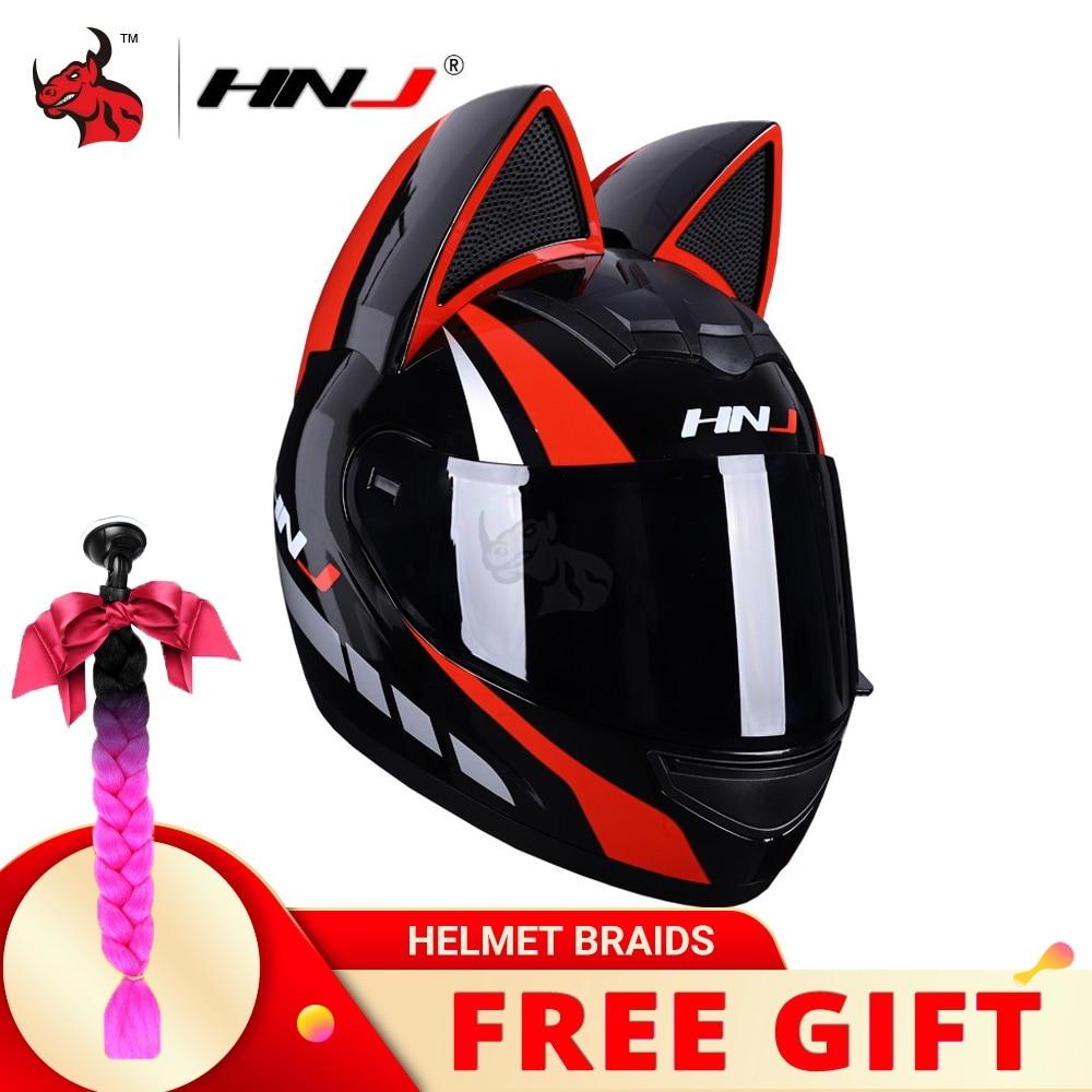 خوذة الدراجات النارية HNJ تغطي الوجه بالكامل لدراجة نارية كاسكو موتو مزدوجة الوجة خوذة الدراجات النارية السعة للرجال والنساء