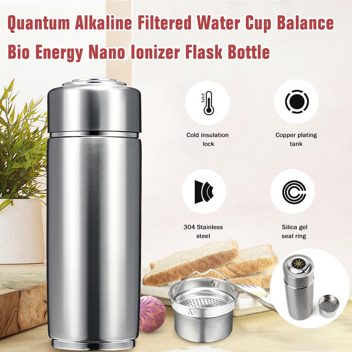 Stainless Steel Quantum Alkaline Filtered  400ml Water Cup Balance Bio Energy Nanos Ionizer Flask Bottle Electrolytic Energy Cup
