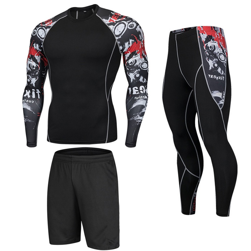 Men's Fitness Skull Running Tights Gym Training Pants Tracksuit To Sports Compression Set Jogging Cl