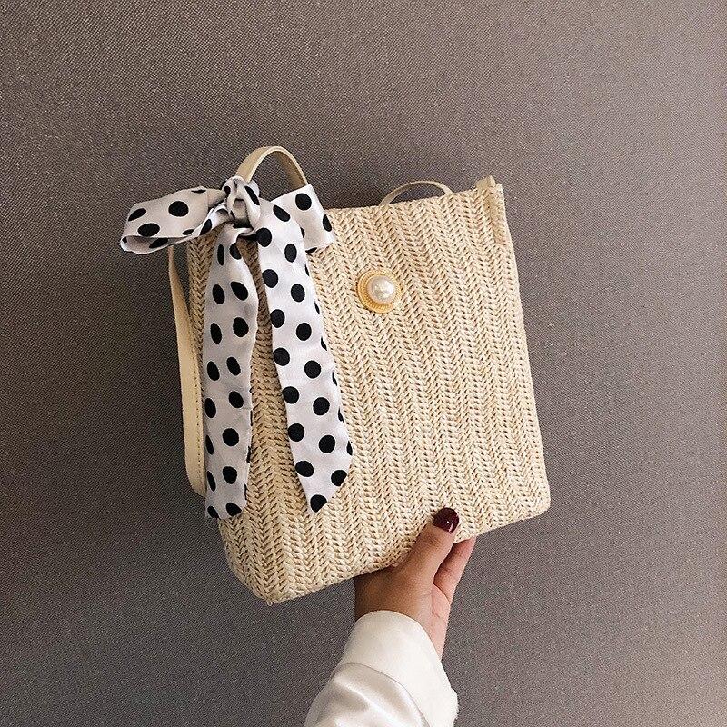 Straw Small Bag Female 2020 New Summer Forest Woven Silk Scarf Bucket Bag Girl Messenger Pearl Beach