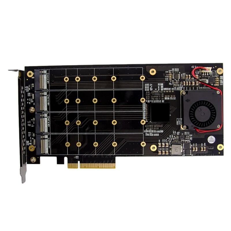 جهاز كمبيوتر محمول PLX8724 PCIE X8 مكون من 4 منافذ ومفتاح M.2 ومفتاح Nvme SSD وبطاقة RAID Riser خاصة لأجهزة الكمبيوتر المحمول