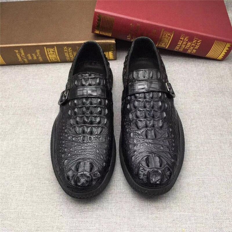 Zapatos mocasines de piel de cocodrilo exóticos informales negros de piel de cocodrilo auténtica suela de goma suave para hombre