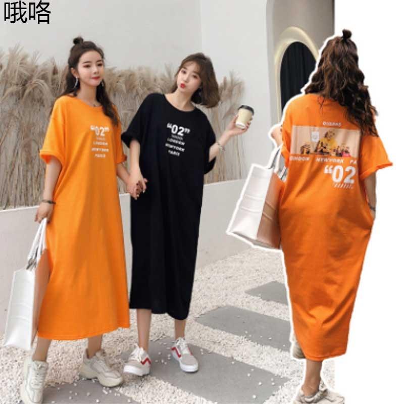 2020 femmes mode graphique impression t-shirt Robe été coréen coton grande taille Robe décontractée Femme robes Dames Robe à manches courtes
