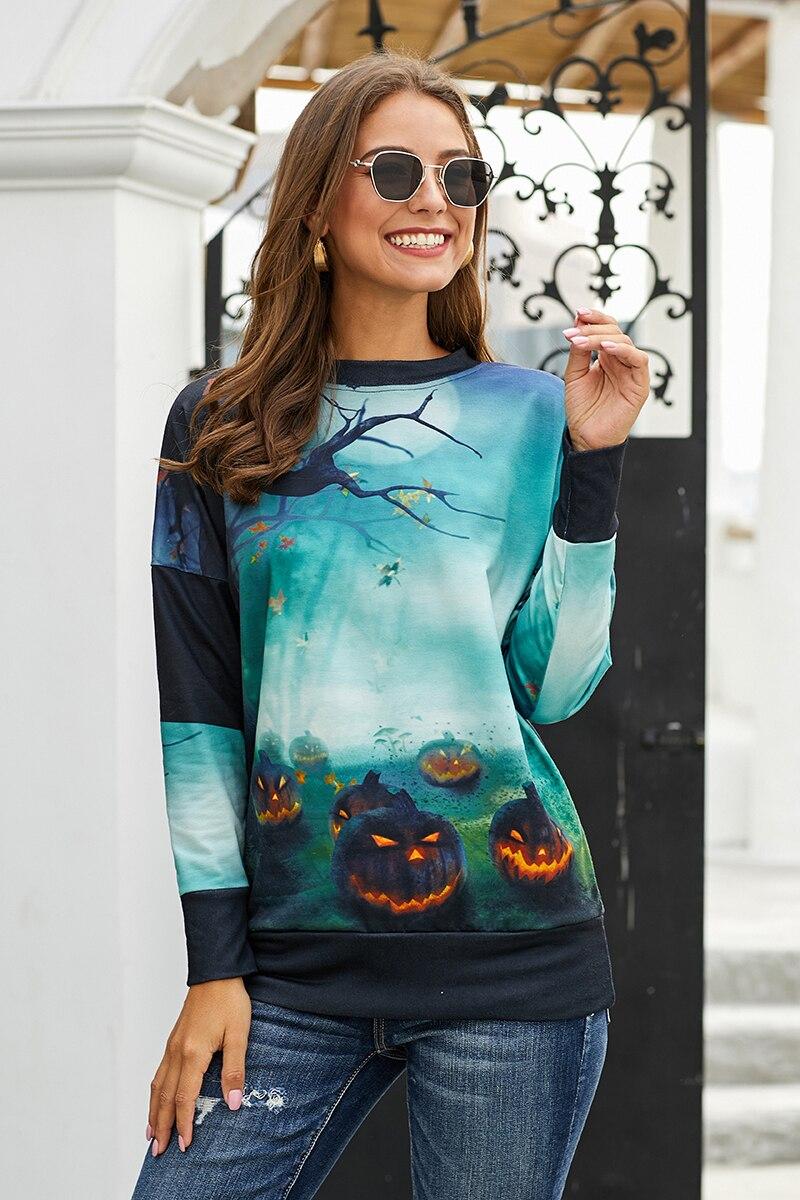 2020 invierno nuevo jersey informal holgado negro/Verde Halloween elemento impreso sudadera