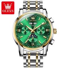 OLEVS Luxury Automatic Men's Mechanical Watches Moon Phase Calendar Week Display Waterproof Man Watc