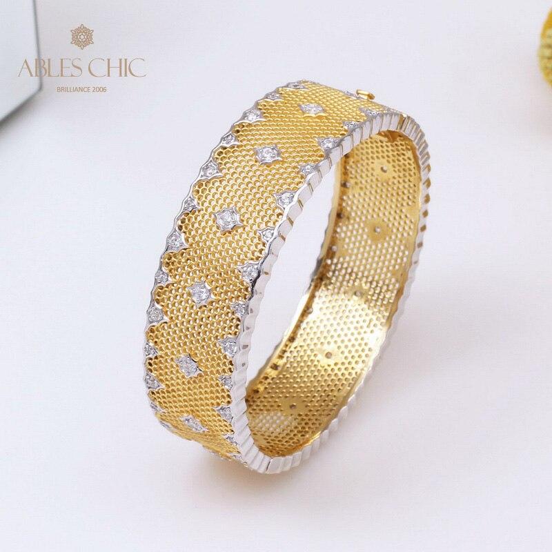 18K Gold Tone Fretwork Lace CZ Wide Hinged Bracelet 925 Silver Tradition Honeycomb Stars Wedding Bangle Renaissance Fine Jewelry