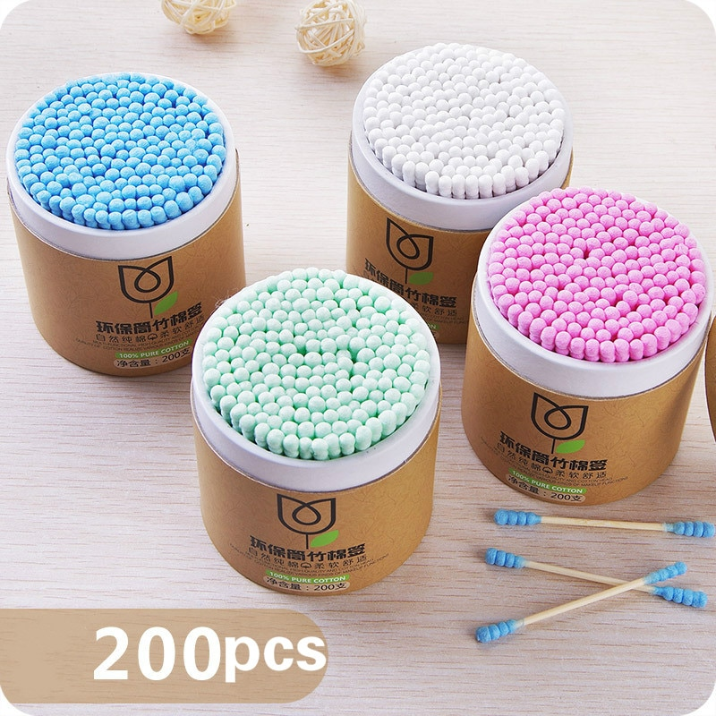 100/200pcs/Box Bamboo Baby Cotton Swab Wood Sticks Soft Cotton Buds Cleaning of Ears Tampons Cotonet