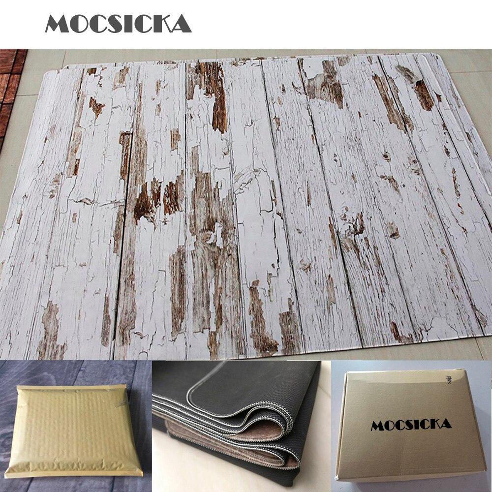 Mocsicka Rubber Mat Floor Photo Background Floor Printed Vintage Wood Newborn Baby Backdrop Anti-slip Rubber Backed Mat enlarge