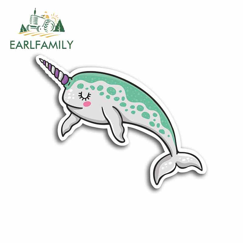 EARLFAMILY, 13cm x 10,4 cm, pegatinas divertidas de ballena narval para coche, vinilo protector solar para caravana y VAN, pegatina fina, JDM, accesorios para coche, Oem