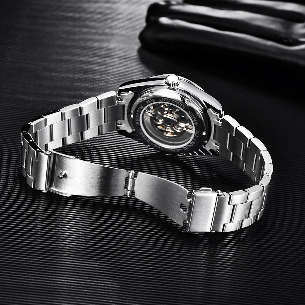2021 Men's Mechanical Wristwatch stainless steel Waterproof Business Watch for Men Clock Tourbillon Skeleton Relogio Masculino enlarge