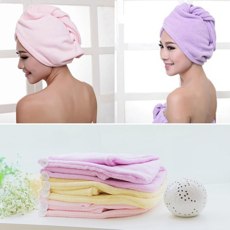 Women Quick Bathroom Turban Textile Wrapp Bathing Quick Towels Useful Newly Hair Hats Dry Microfiber