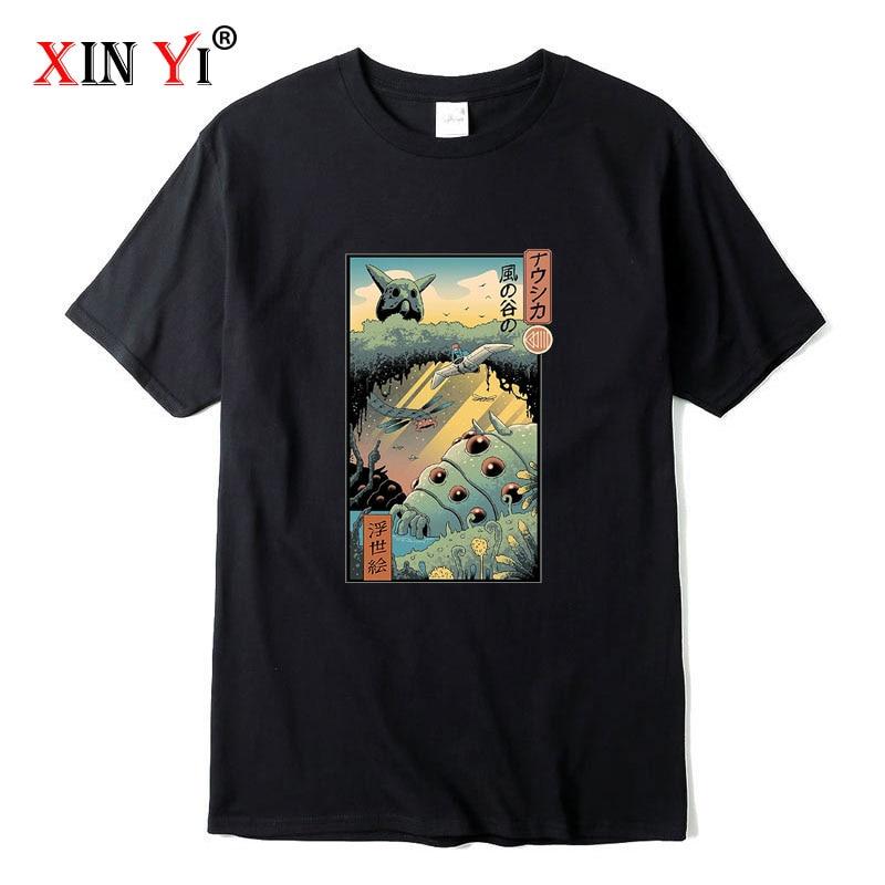 XIN YI Men's high quality t-shirt100% cotton Anime printed T-shirt casual funny loose men tshirt summer o-neck cool t-shirt tops недорого