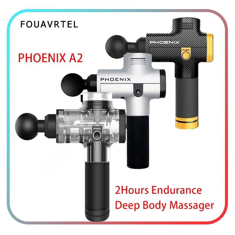 Pistola de masaje eléctrica Phoenix A2, máquina de relajación de masaje muscular profundo, dispositivo profesional de relajación corporal, masajeador terapéutico para el cuerpo