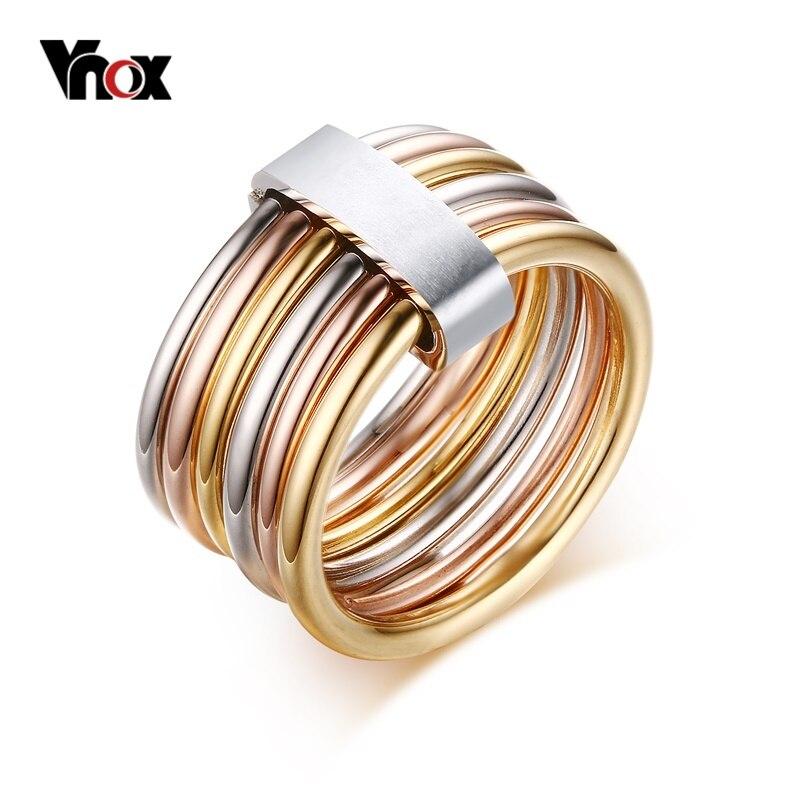 Vnox Moda 6 Plain Fasce Intrecciate Impilati Largo Dichiarazione Cocktail Rings per le Donne Tre Colori Femme Anello Set