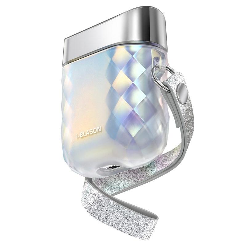 I-BLASON Gems Series funda con correa de muñeca diseñada para Airpods 1st/2nd (translúcido iridiscente)