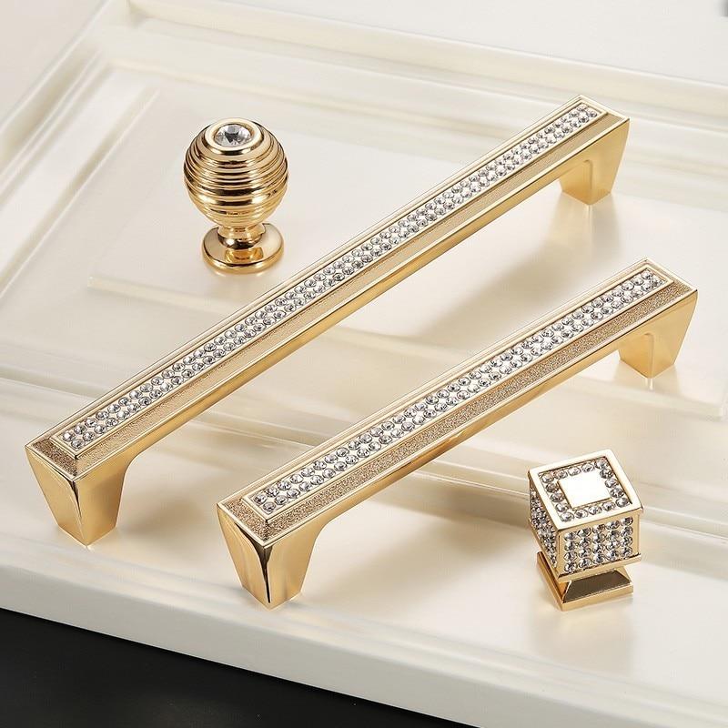 Manijas de puerta de oro para gabinetes de cocina perillas y manijas de puerta de cristal manija de muebles de armario europeo tirador de cajón