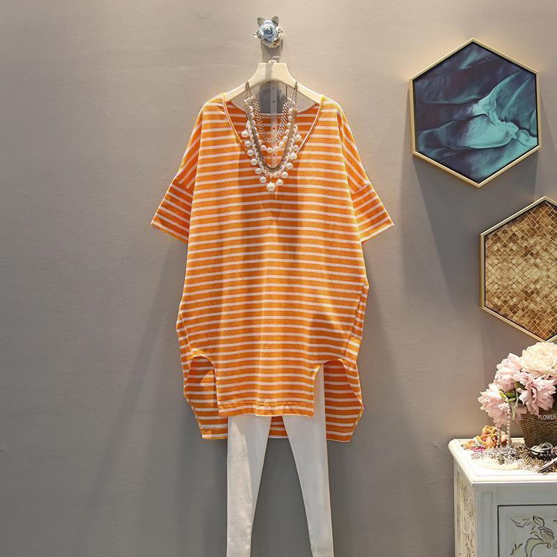 Женская футболка большого размера в стиле Харадзюку, летний топ с v-образным вырезом и принтом в полоску, Повседневная модная Эстетическая футболка для женщин