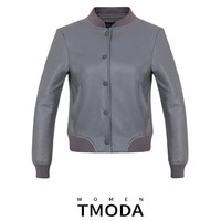 Женская короткая куртка-бомбер TMODA291 из искусственной кожи, повседневная серая однобортная куртка с принтом букв и карманами, 2021