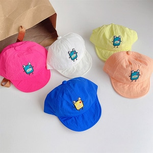 2021 New Fashion Baseball Caps Cartoon Monster Embroidery Letter Colorful Soft Thin Hats For Kids Children Quick-dry