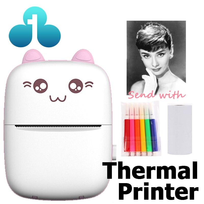Mini Portable Thermal Printer CAT Print Paper Photo Pocket Thermal Printer 58mm Printing Wireless Bluetooth Android IOS Printers