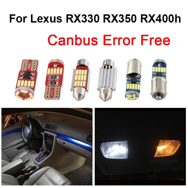 Bombillas de coche blanco Canbus Kit de luz de lectura Interior LED para lámpara de licencia domo de 2004 2005 2006-2019 de Lexus RX350 RX400h