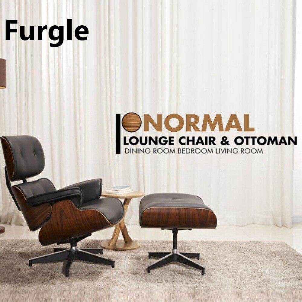 Furgle منتصف القرن صالة كرسي و العثماني قسط جودة الجلد الحقيقي الخشب الاستنساخ نمط أريكة لغرفة المعيشة/غرفة الطعام غرفة نوم