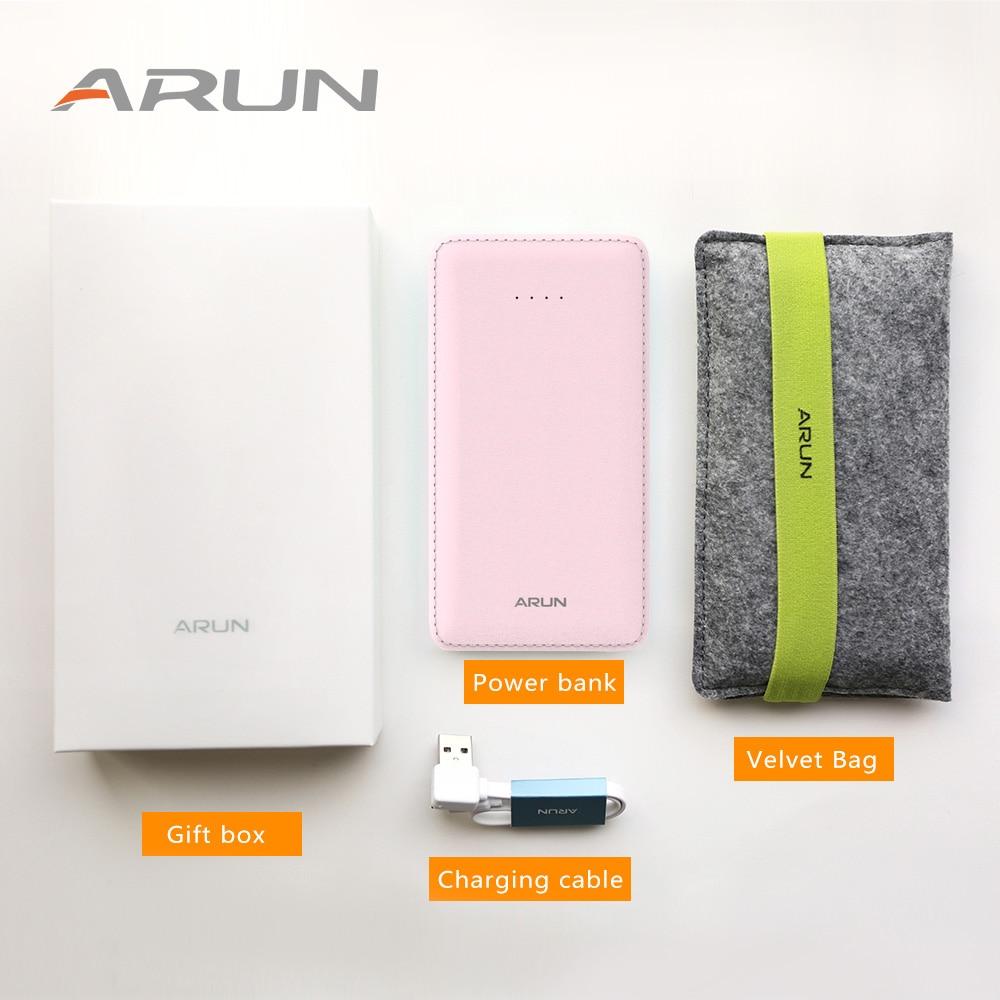 Внешний аккумулятор ARUN 10000 мАч, двойной USB тонкий внешний аккумулятор 10000 мАч, портативный внешний аккумулятор для телефона, зарядное устройство для Xiaomi Mi 3 iPh