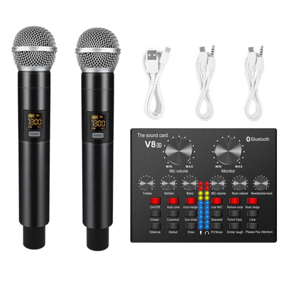 UHF 6.35 مللي متر 3.5 مللي متر ميكروفون لاسلكي 5.0 بلوتوث كارت الصوت البث المباشر الغناء معدات ل Karaok