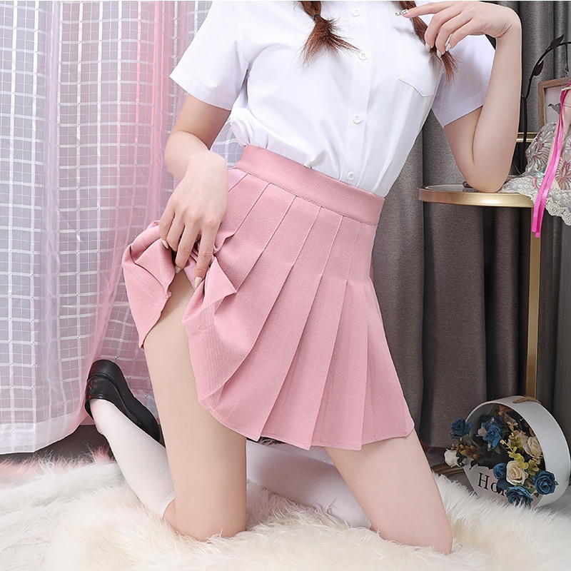 Without Lining Women's Skirt Elastic High Waist Female Mini Skirts Without Shorts Ladies Girls Pleated Skirts Sexy A-line Skirt