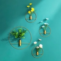 nordic light luxury round metal wall hanging vase creative home living room bedroom decoration iron flower wall mounted vase new
