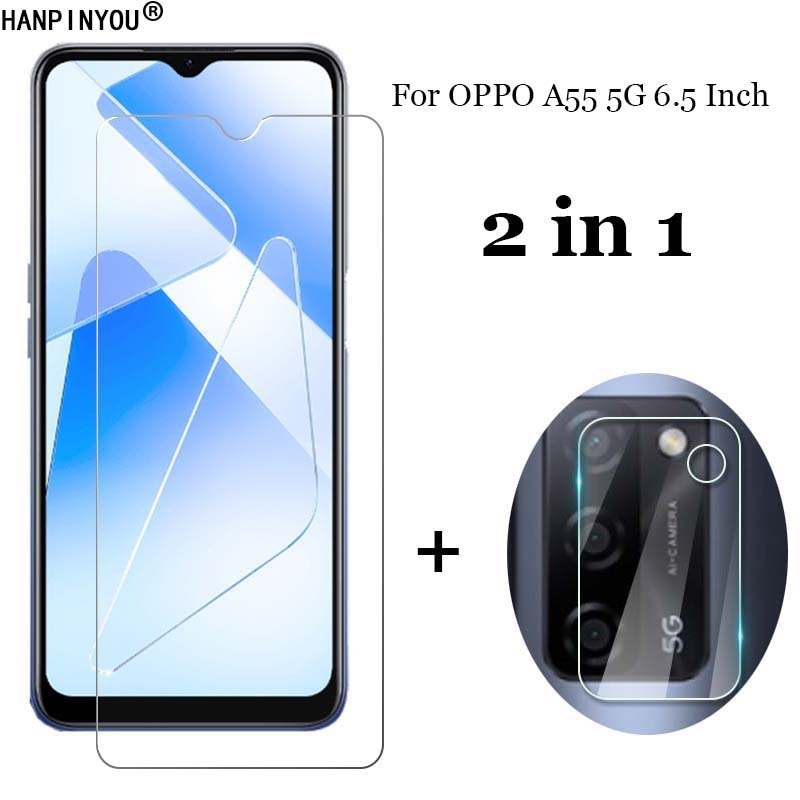 2-in-1-for-oppo-a55-5g-65-camera-lens-protection-film-front-clear-tempered-glass-screen-protector