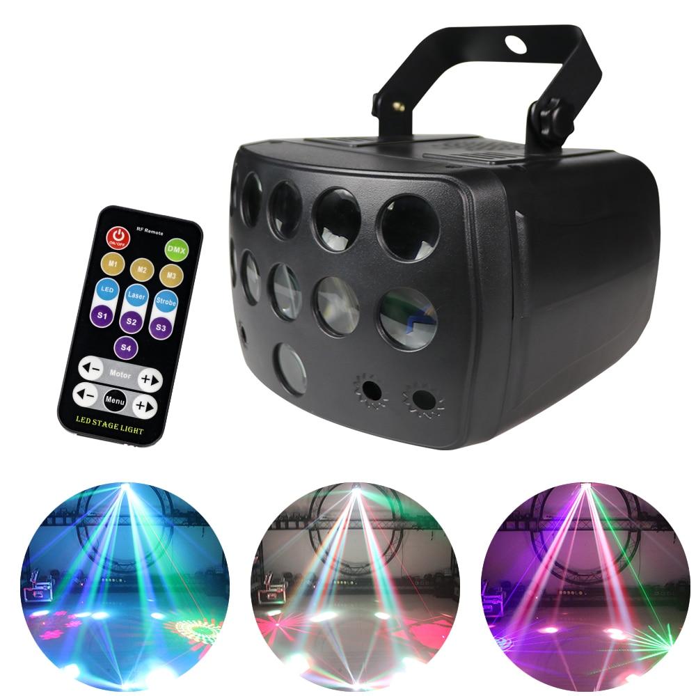 Светодиодный прожектор с дистанционным управлением DMX RGBW 4 в 1, лазерный стробоскоп, диджейский луч, сценический прожектор с эффектом светов...