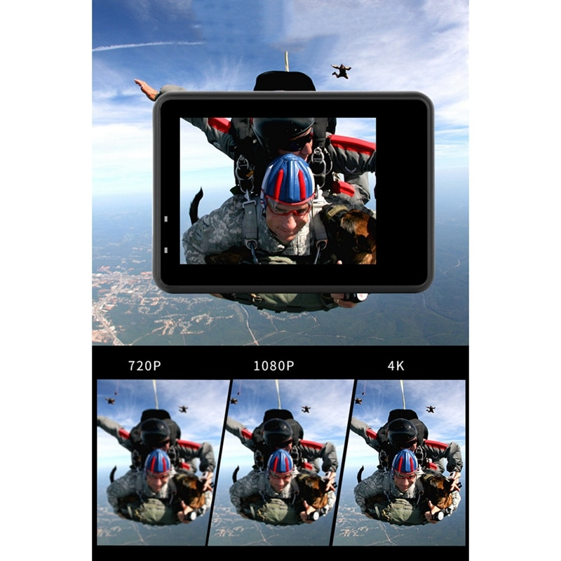 4K / 60Fps 2inch + 1.3inch Dual Screen Action Camera 170° Underwater Camera Helmet Go Sports Pro Vlog Camera enlarge