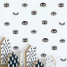 24 Uds lindo pestañas adhesivo con diseño para pared adhesivos de vinilo de pared removibles para la habitación de los niños Lovely Sleepy los ojos de bebé A10-012